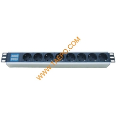 German DIN49440 standard 16A 250VAC 8 ways PDU with  with current voltage display