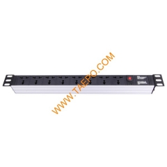 Universal standard 10A 250VAC 8 ways 1U PDU with over-load protection