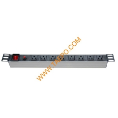 US NEMA5-15R standard 15A 125/250VAC 8 ways 1U PDU with switch & over-load protection
