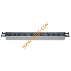 US NEMA5-15R standard 15A 125/250VAC 9 ways 1U PDU with over-load protection