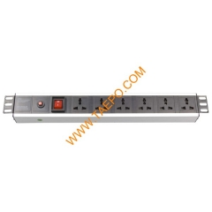 Universal standard 10A 250VAC 6 ways 1.5U PDU with switch & over-load protection