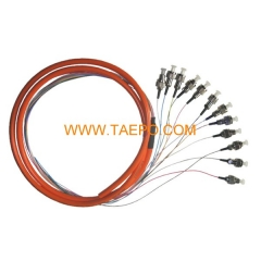 multimode 12 fibers FC/UPC Fiber optic fanout pigtail