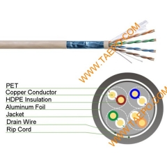4 pairs CAT5E FTP bare copper AWG24 solid coductor LAN cable 305m/roll