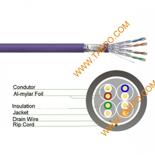 4 pairs CAT6A FTP bare copper AWG23 solid coductor LAN cable 305m/roll